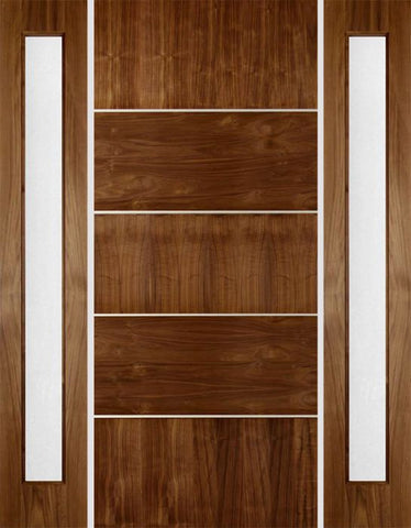 WDMA 70x80 Door (5ft10in by 6ft8in) Exterior Walnut Rustic Modern Single Entry Door w Two Sidelights 1