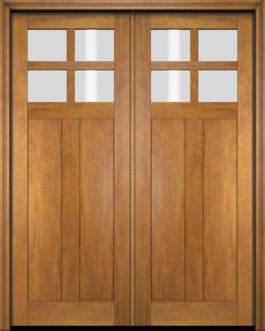 WDMA 70x80 Door (5ft10in by 6ft8in) Exterior Barn Mahogany 4 Lite Craftsman or Interior Double Door 1