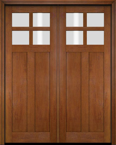 WDMA 70x80 Door (5ft10in by 6ft8in) Exterior Barn Mahogany 4 Lite Craftsman or Interior Double Door 4