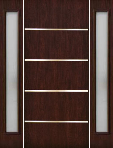 WDMA 70x80 Door (5ft10in by 6ft8in) Exterior Cherry Contemporary Stainless Steel Bars Single Fiberglass Entry Door Sidelights FC675SS 1