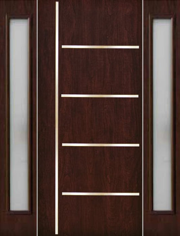 WDMA 70x80 Door (5ft10in by 6ft8in) Exterior Cherry Contemporary Stainless Steel Bars Single Fiberglass Entry Door Sidelights FC676SS 1