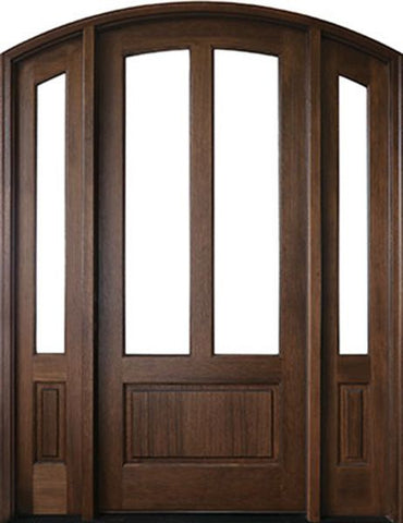 WDMA 70x96 Door (5ft10in by 8ft) French Swing Mahogany Trinity 2 Lite Single Door/2Sidelight Arch Top 2-1/4 Thick 1