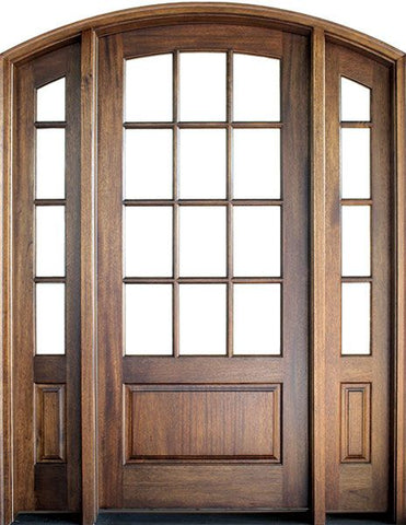 WDMA 70x96 Door (5ft10in by 8ft) French Swing Mahogany Trinity TDL 12 Lite Single Door/2Sidelight Arch Top 2-1/4 Thick 1