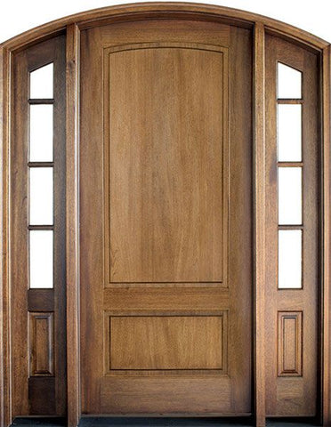WDMA 70x96 Door (5ft10in by 8ft) Exterior Swing Mahogany Trinity 2 Panel Single Door/2 TDL Sidelight Arch Top 1