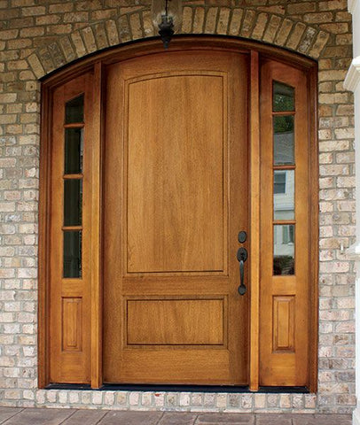 WDMA 70x96 Door (5ft10in by 8ft) Exterior Swing Mahogany Trinity 2 Panel Single Door/2 TDL Sidelight Arch Top 2