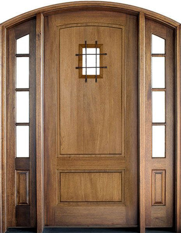 WDMA 70x96 Door (5ft10in by 8ft) Exterior Swing Mahogany Trinity 2 Panel Single Door/2 TDL Sidelight Arch Top w Speakeasy 1