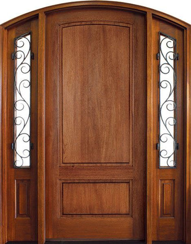 WDMA 70x96 Door (5ft10in by 8ft) Exterior Swing Mahogany Trinity 2 Panel Single Door/2 Iron Sidelight Arch Top 1