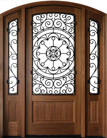 WDMA 70x96 Door (5ft10in by 8ft) Exterior Swing Mahogany Trinity Single Door/2Sidelight Arch Top w Iron #1 2-1/4 Thick 1