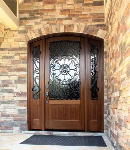 WDMA 70x96 Door (5ft10in by 8ft) Exterior Swing Mahogany Trinity Single Door/2Sidelight Arch Top w Iron #1 2-1/4 Thick 2