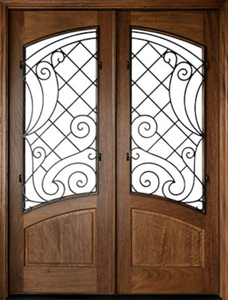 WDMA 72x108 Door (6ft by 9ft) Exterior Mahogany Aberdeen Impact Double Door w Iron #1 1