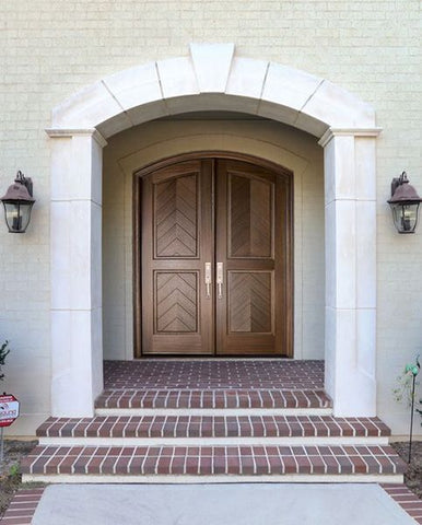 WDMA 72x108 Door (6ft by 9ft) Exterior Mahogany Manchester Solid Panel Arched Impact Double Door/Arch Top 2