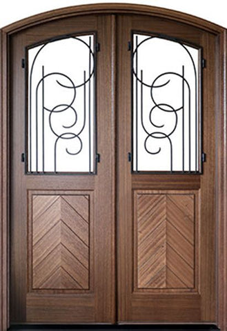 WDMA 72x108 Door (6ft by 9ft) Exterior Mahogany Manchester Impact Double Door/Arch Top w Iron #1 1