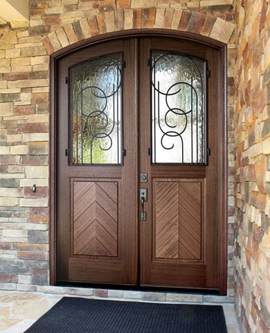 WDMA 72x108 Door (6ft by 9ft) Exterior Mahogany Manchester Impact Double Door/Arch Top w Iron #1 2