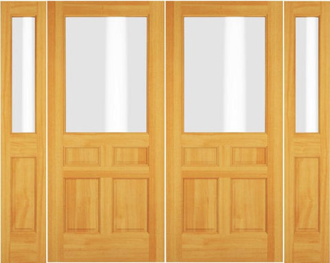 WDMA 72x80 Door (6ft by 6ft8in) Exterior Swing Cherry Wood 1/2 Lite Double Door / 2 Sidelight 1