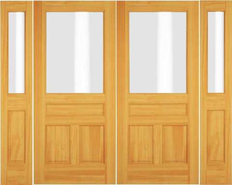 WDMA 72x80 Door (6ft by 6ft8in) Exterior Swing Walnut Wood 1/2 Lite Double Door / 2 Sidelight 1