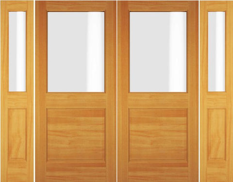 WDMA 72x80 Door (6ft by 6ft8in) Exterior Swing Oak Wood 1/2 Lite Double Door / 2 Sidelight 1