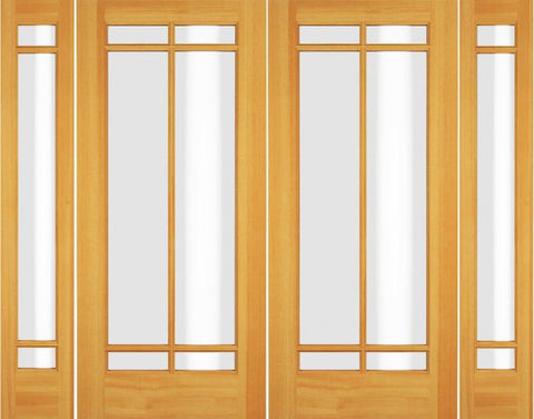 WDMA 72x80 Door (6ft by 6ft8in) Exterior Swing Poplar Wood Full Lite Prairie Arts and Craft Double Door / 2 Sidelight 1