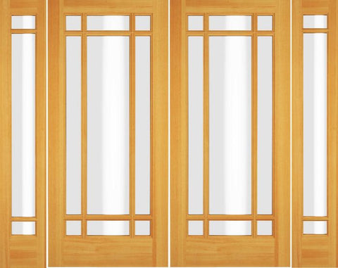 WDMA 72x80 Door (6ft by 6ft8in) Exterior Swing Alder Wood Full Lite Prairie Arts and Craft Double Door / 2 Sidelight 1