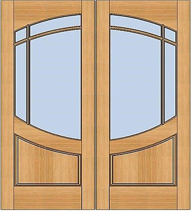 WDMA 72x80 Door (6ft by 6ft8in) Exterior Swing Walnut Wood 3/4 Lite Arch Lite Paririe Double Door 1