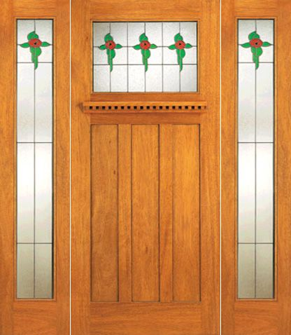 WDMA 72x84 Door (6ft by 7ft) Exterior Mahogany Stained Glass Craftsman Style Door and Two Full Sidelights 1