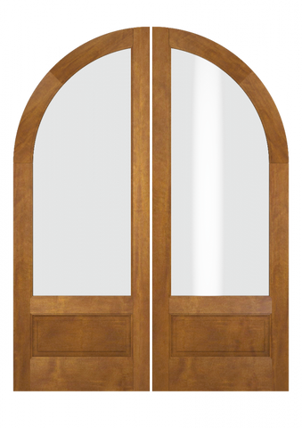 WDMA 72x84 Door (6ft by 7ft) Interior Swing Mahogany 3/4 Lite Round Top 1 Panel Transitional Home Style Exterior or Double Door 2