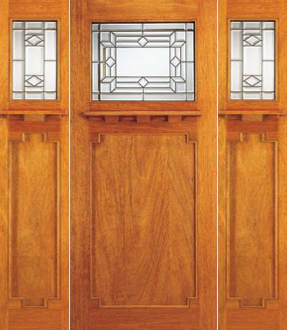 WDMA 72x84 Door (6ft by 7ft) Exterior Mahogany Craftsman Style Door and Two Sidelight Triple Glazed 1