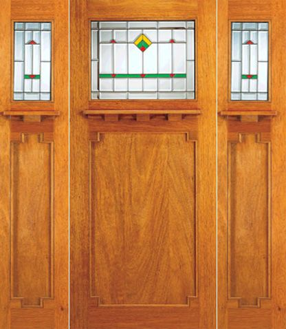 WDMA 72x84 Door (6ft by 7ft) Exterior Mahogany Doors 2-Sidelights Frank Lloyd Wright Glass Design 1