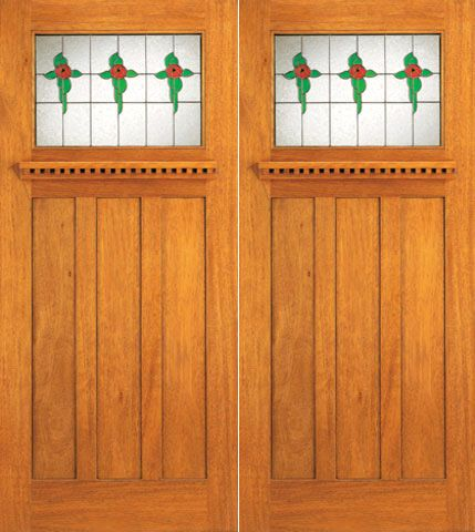 WDMA 72x84 Door (6ft by 7ft) Exterior Mahogany Stained Glass Craftsman Style Double Front Doors 1