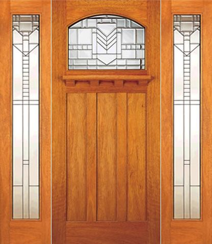 WDMA 72x84 Door (6ft by 7ft) Exterior Mahogany Craftsman Single Door and Full lite Two Sidelights 1