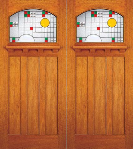 WDMA 72x84 Door (6ft by 7ft) Exterior Mahogany Craftsman Double Doors Frank Lloyd Wright Glass Design 1