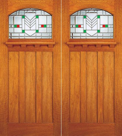 WDMA 72x84 Door (6ft by 7ft) Exterior Mahogany Entry Double Doors Frank Lloyd Wright Glass Design 1