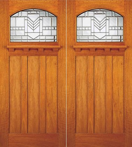 WDMA 72x84 Door (6ft by 7ft) Exterior Mahogany Craftsman Style Double Door Arched Lite Glass 1