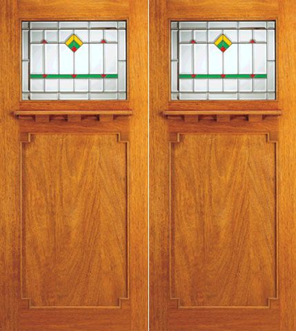 WDMA 72x84 Door (6ft by 7ft) Exterior Mahogany Double Doors Frank Lloyd Wright Glass Design 1