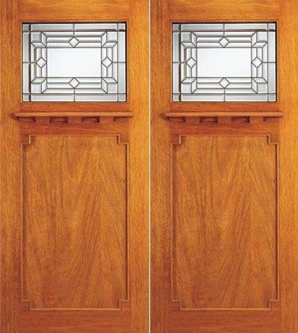 WDMA 72x84 Door (6ft by 7ft) Exterior Mahogany Brazilian Arts and Crafts Style Double Doors Triple Glazed 1