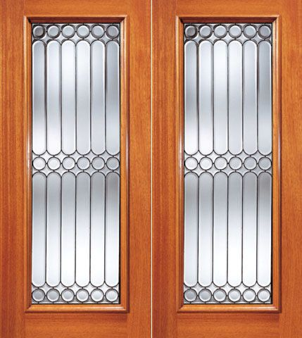WDMA 72x84 Door (6ft by 7ft) Exterior Mahogany Symmetrical Design Beveled Glass Double Door Full lite 1