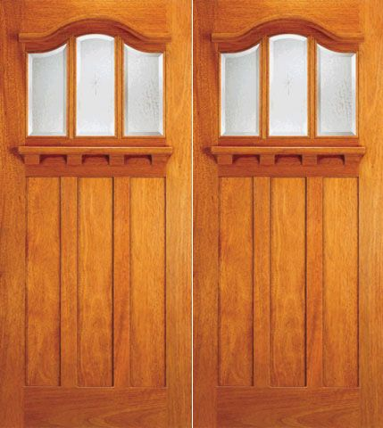 WDMA 72x84 Door (6ft by 7ft) Exterior Mahogany Arched 3-Lite Glass Craftsman Double Door 1