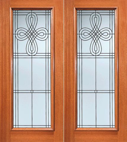 WDMA 72x84 Door (6ft by 7ft) Exterior Mahogany Celtic Design Beveled Glass Double Door Full lite 1