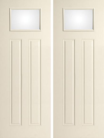 WDMA 72x96 Door (6ft by 8ft) Exterior Smooth 8ft Satin Etch 2 Panel Craftsman Star Single Door 1