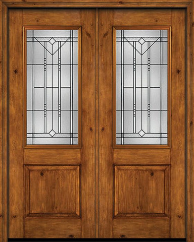 WDMA 72x96 Door (6ft by 8ft) Exterior Knotty Alder 96in Alder Rustic Plain Panel 2/3 Lite Double Entry Door Riverwood Glass 1
