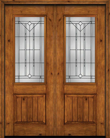 WDMA 72x96 Door (6ft by 8ft) Exterior Knotty Alder 96in Alder Rustic V-Grooved Panel 2/3 Lite Double Entry Door Riverwood Glass 1
