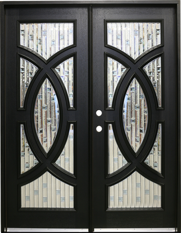 WDMA 72x96 Door (6ft by 8ft) Exterior Mahogany Double Front Doors with Circle Decorative Glass 2
