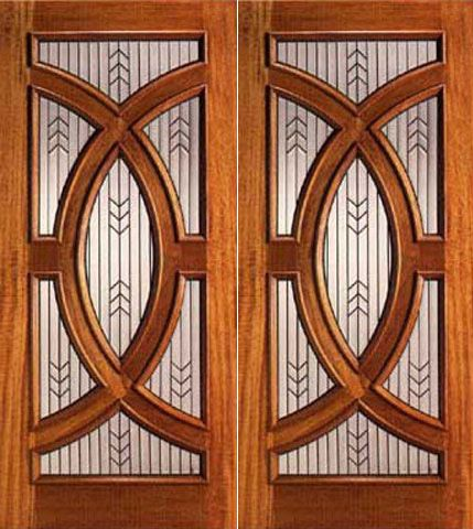 WDMA 72x96 Door (6ft by 8ft) Exterior Mahogany Double Front Doors with Triple Glazed Glass Circle 1