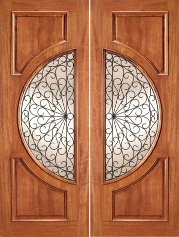 WDMA 72x96 Door (6ft by 8ft) Exterior Mahogany Circle Lite Double Door Scrollwork Ironwork Design 1