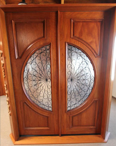 WDMA 72x96 Door (6ft by 8ft) Exterior Mahogany Circle Lite Double Door Scrollwork Ironwork Design 6
