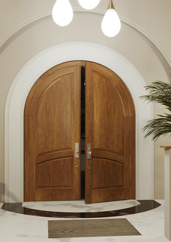 WDMA 72x96 Door (6ft by 8ft) Interior Swing Mahogany 2/3 Round Top 2 Panel Solid Transitional Home Style Exterior or Double Door 1