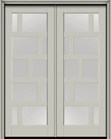 WDMA 72x96 Door (6ft by 8ft) Exterior Smooth Contemporary Asymmetrical 10 Lite 8ft0in Full Lite Flush-Glazed Fiberglass Double Door 1