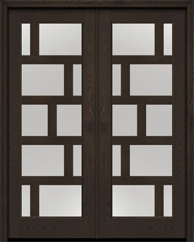 WDMA 72x96 Door (6ft by 8ft) Exterior Oak Contemporary Asymmetrical 10 Lite 8ft0in Full Lite Flush-Glazed Fiberglass Double Door 1