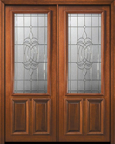 WDMA 72x96 Door (6ft by 8ft) Exterior Mahogany 36in x 96in Double 2/3 Lite Colonial 2 Panel DoorCraft Door 1