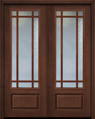 WDMA 72x96 Door (6ft by 8ft) French Cherry Pro 96in Double 9 Lite Craftsman SDL 3/4 Lite Door 1