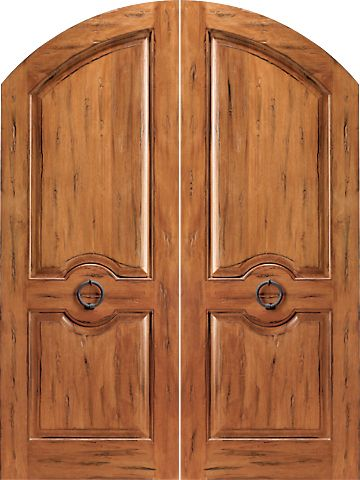 WDMA 72x96 Door (6ft by 8ft) Exterior Tropical Hardwood RS-1120 Arch Top Raised 2-Panel Rustic Hardwood Double Door w Knocker 1